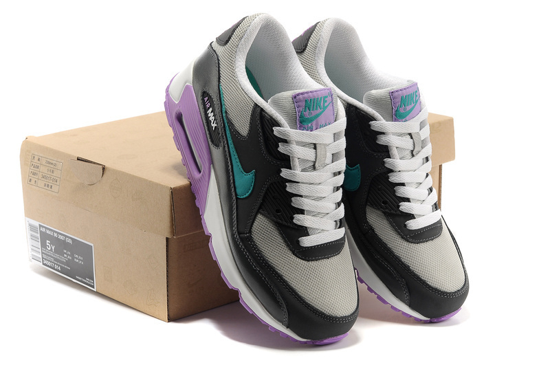 Nike Women Air Max 90 Grey Purple Black Running Shoes