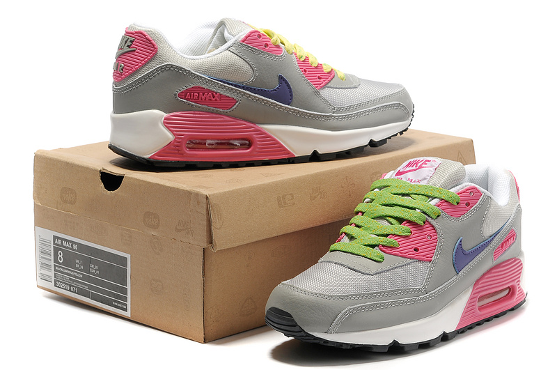Nike Women Air Max 90 Grey Red Blue Running Shoes