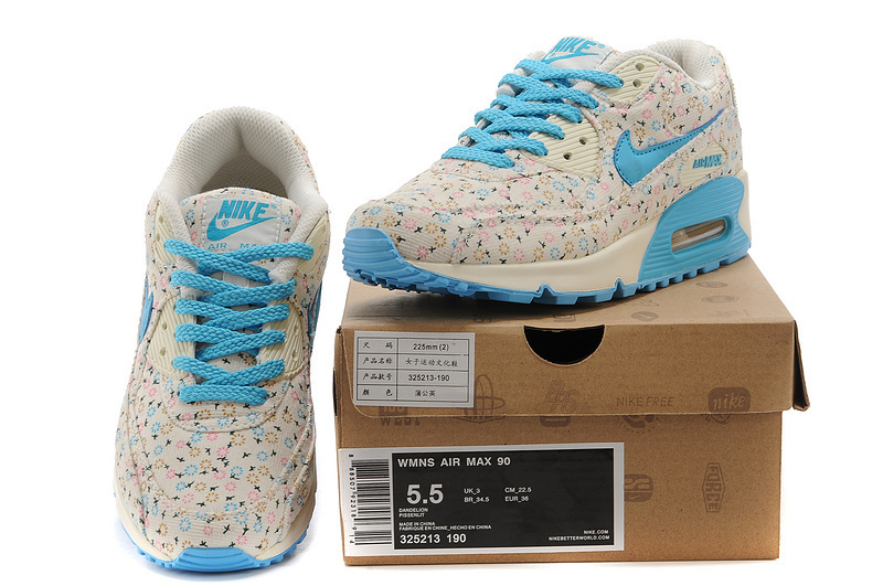 Nike Women Air Max 90 Leopard Blue Print Runnings