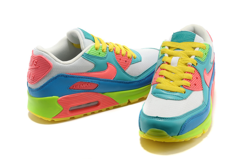 Nike Women Air Max 90 Light Blue Rainbow Running Shoes