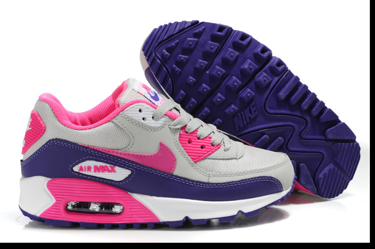 Nike Women Air Max 90 Pink Black Grey Running Shoes