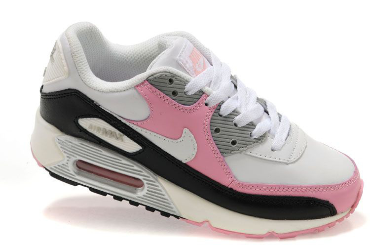 Nike Women Air Max 90 White Pink Grey Running Shoes
