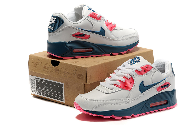 Nike Women Air Max 90 White pink Black Running Shoes