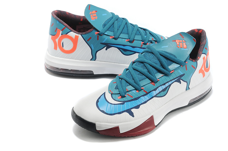 Original Kevin Durant 6 Classic White Blue Orange Shoes