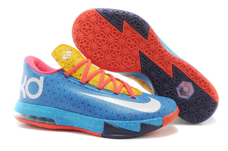 Original Kevin Durant 6 The Year Of Horse Blue Orange Yellow Shoes