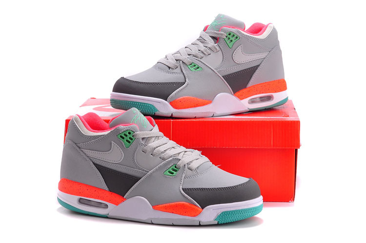 Original Nike Air Flight 89 Classic Grey Orange Green Shoes