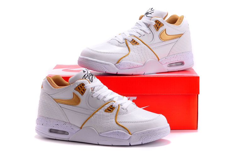 Original Nike Air Flight 89 White Gold Shoes