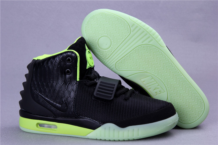 Original Nike Air Yeezy 2 Classic Black Green Shoes