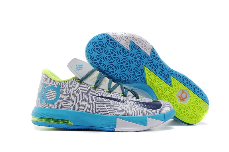 Original Nike KD 6 Grey Black Baby Blue Basketball Shoes