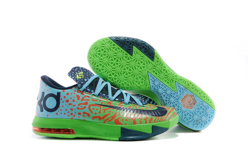 Original Nike KD 6 Black Green Blue Basketball Shoes