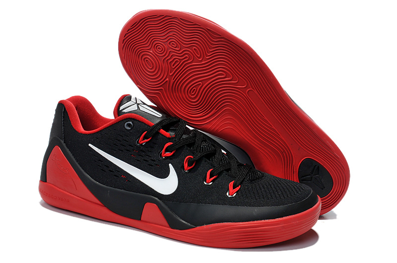 Original Nike Kobe 9 Low Classic Black Red Basketball Shoes
