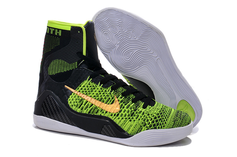 Original Nike Kobe Bryant 9 High Classic Black Green Gold Logo Shoes