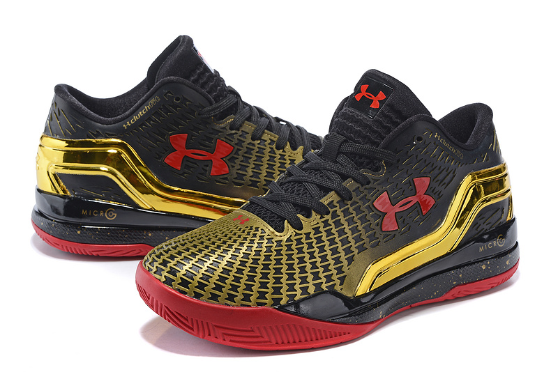2016 UA Clutchfit Drive Low Black Gold Red Basketball Shoes