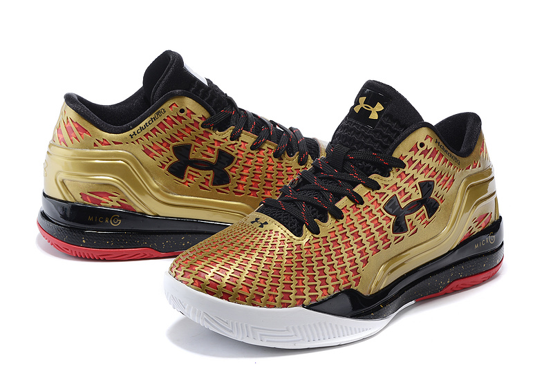 2016 New UA Clutchfit Drive Low Gold Black Red Basketabll Shoes