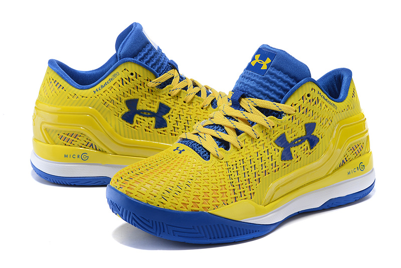 2016 New UA Clutchfit Drive Low Yellow Blue Basketball Shoes
