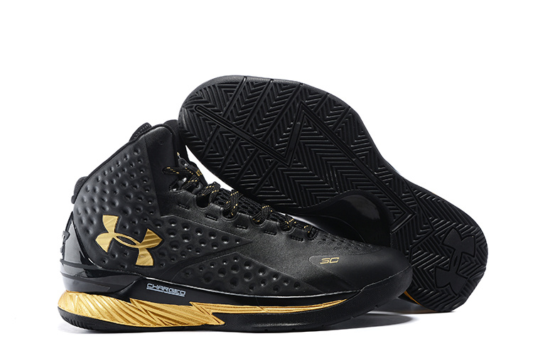 UA Stephen Curry 1 Black Gold Shoes