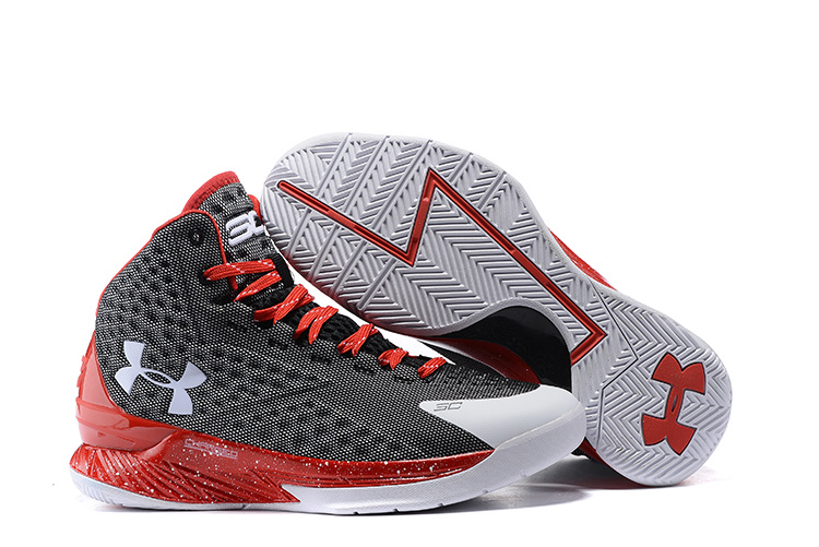 UA Stephen Curry 1 Black Red White Basketball Shoes