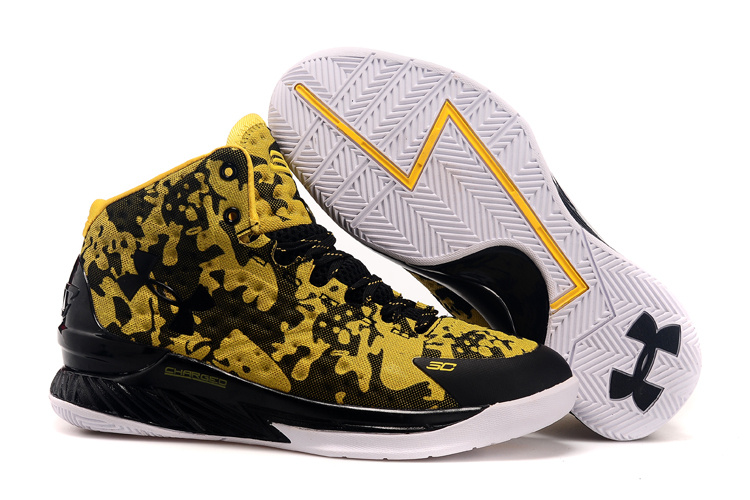 UA Stephen Curry 1 Black Yellow Basketball Shoes