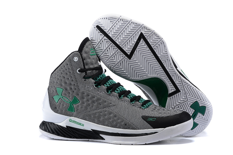 UA Stephen Curry 1 Grey Black Green Shoes