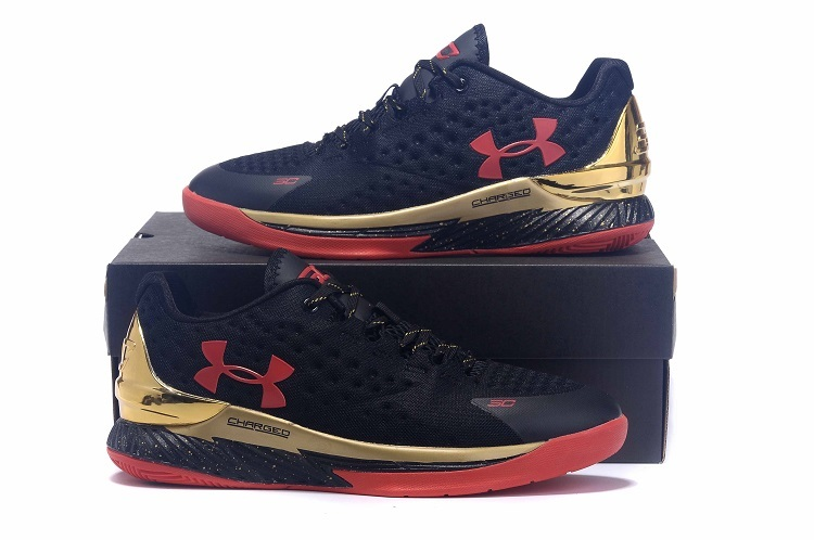 UA Stephen Curry 1 Low Black Gold Red Shoes