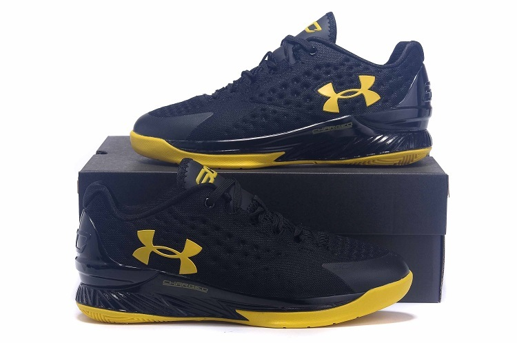 UA Stephen Curry 1 Low Black Yellow Shoes