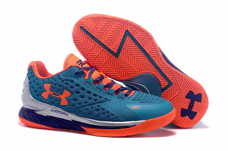 UA Stephen Curry 1 Low Blue Orange White Shoes
