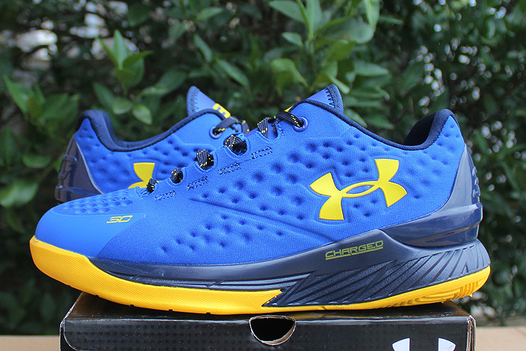 UA Stephen Curry 1 Low Blue Yellow Shoes