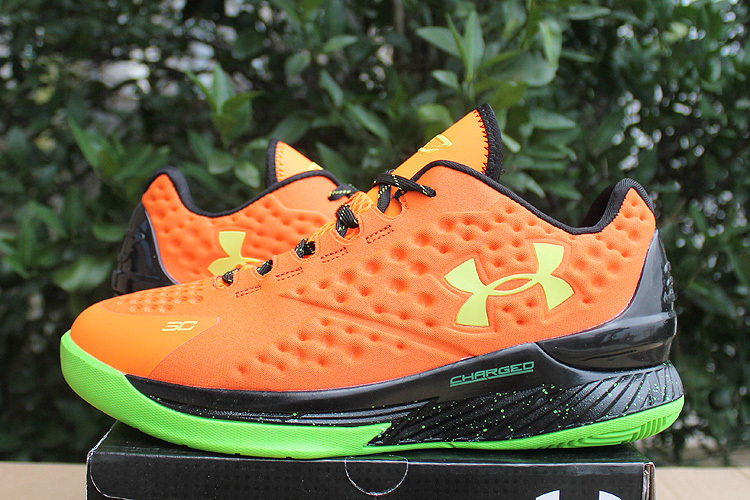 UA Stephen Curry 1 Low Orange Green Black Shoes