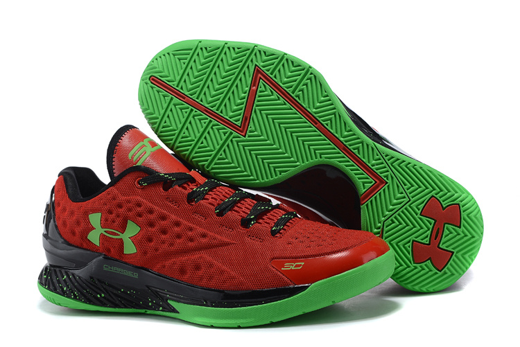 UA Stephen Curry 1 Low Red Black Green Shoes