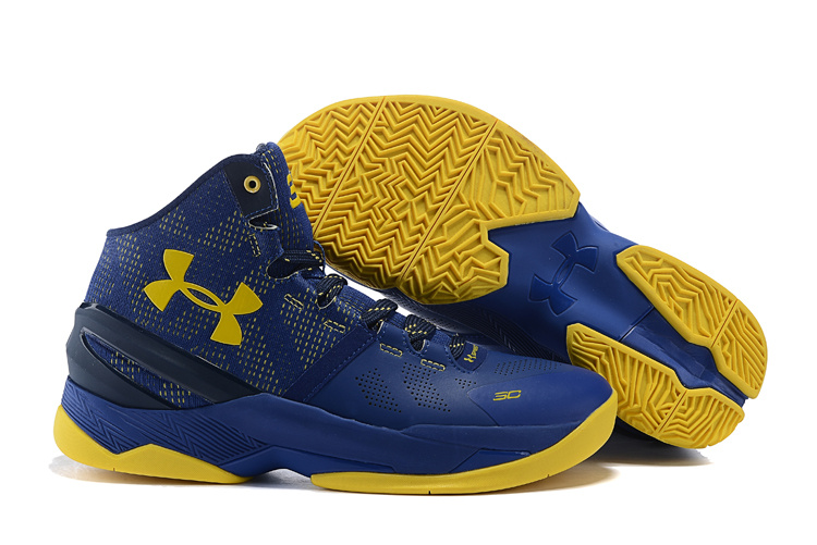UA Stephen Curry 2 Royal Blue Yellow Shoes