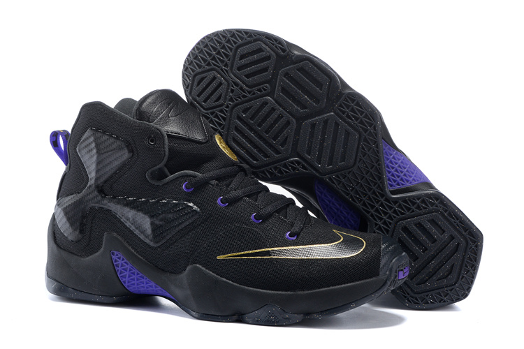 New Nike Lebron 13 Black Gold Purple For WOmen Sneaker