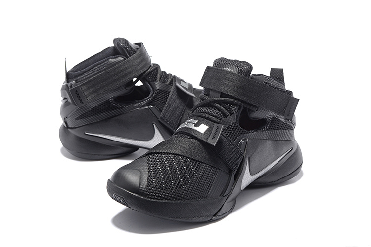Women Nike Lebron Solider 9 All Black Basketball Shoes