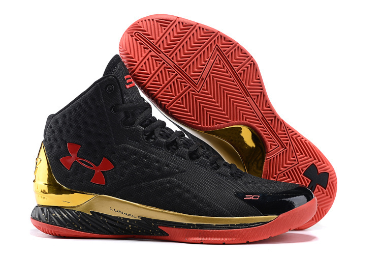 Women UA Stephen Curry 1 MVP Black Gold Red Shoes