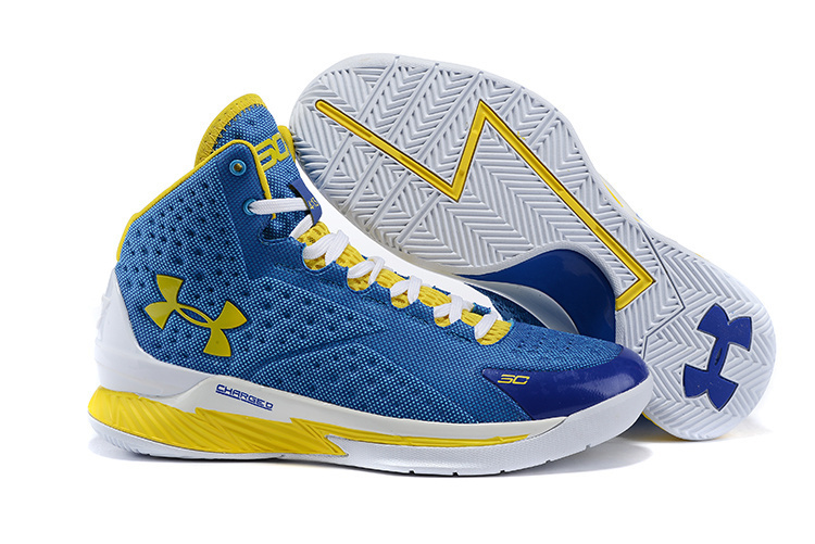 Women UA Stephen Curry 1 Warriors Blue Yellow Shoes